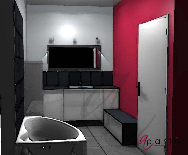 Salle de bain grise et framboise apart le blog - Mur framboise et gris ...